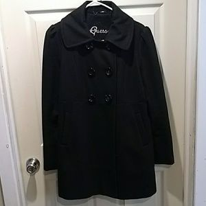 Black Guess Pea Coat - Size Large